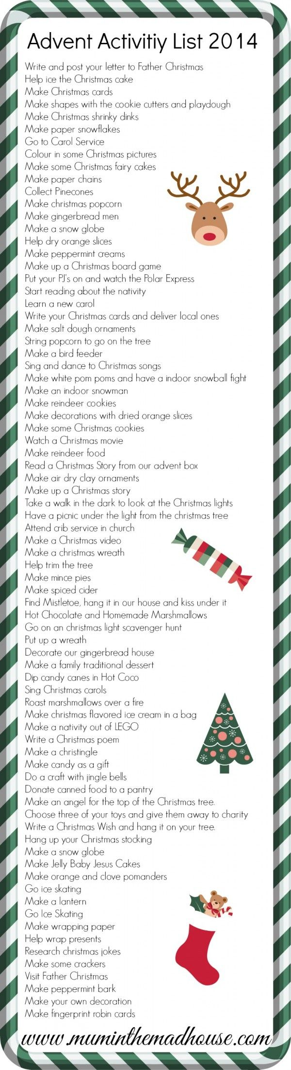 Ultimate advent activity list 2014.  75 simple and easy activities for advent and advent calendars perfect for the lead up to Christmas from Mum in the Mad House