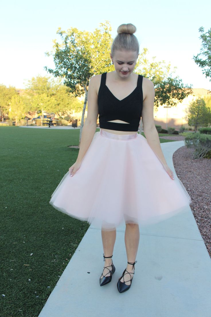Trendy ballerina costume with DIY tulle skirt, crop top and lace up flats