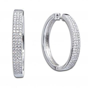 Серьги кольца из серебра с фианитами