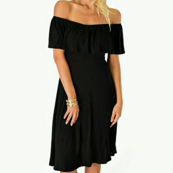 Shop Women's Black size Various Midi at a discounted price at Poshmark. Description: BLACK OFF THE SHOULDER DRESS. Made In: Made with Love in the U.S.A. Fabric Content: 95% Rayon 5% Spandex Sizes: S-M-L-XL. Sold by candylander. Fast delivery, full service customer support.
