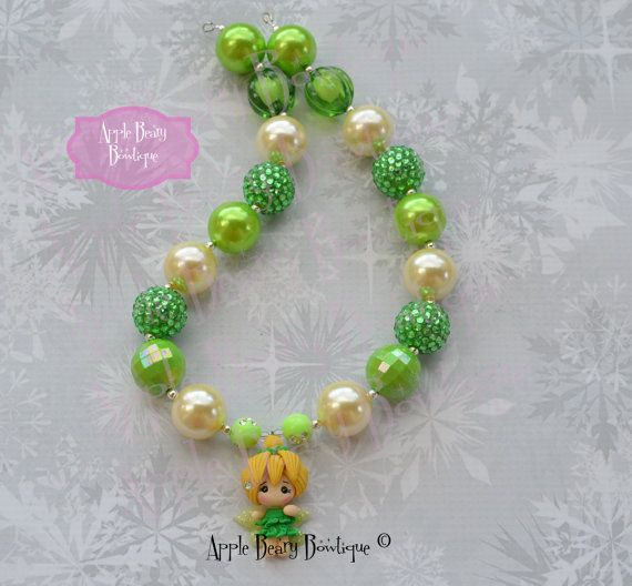 Tinkerbell Necklace Tinkerbell Chunky by AppleBearyBowtique