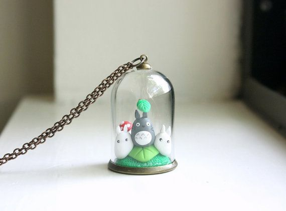 Miniature Totoro Terrarium Necklace - bell jar glass globe necklace, studio ghibli my neighbor totoro, hayao miyazaki anime jewelry