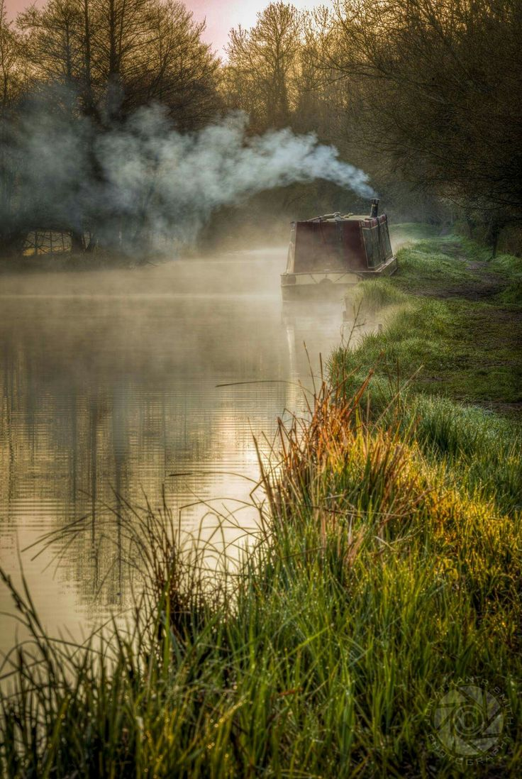 houseboat in the mist