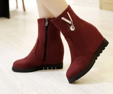 Women new fashion spring autumn 8cm high wedges heels scrub pointed toe snow boots solid color shoes large plus size 40-44