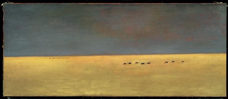 """Lemieux's classic period, which would last from 1956 to 1970, is characterized by a horizontal format, bare subject matter, and simplified pictorial space. """"The Far West"""" (Le Far West), 1955, Montreal Museum of Fine Arts. #ArtCanInstitute"""