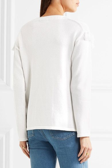 Chloé - Tasseled Cotton And Wool-blend Sweater - Cream -