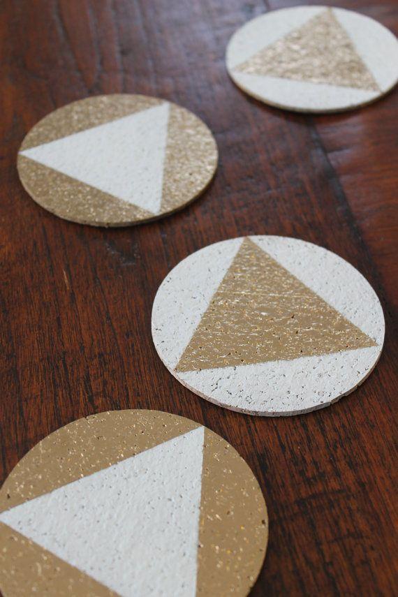 Two Tone Cork Coasters set of 6 by nimwitstudio on Etsy