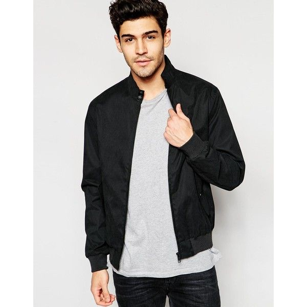 Brave Soul Summer Harrington Check Lined Jacket (305 VEF) ❤ liked on Polyvore featuring men's fashion, men's clothing, men's outerwear, men's jackets, men and black