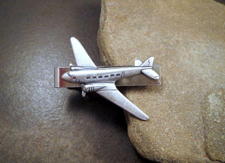 Handmade Silver Brass Steampunk Airplane Tie Bar Clip
