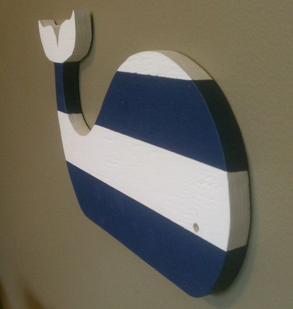 Cute Striped Wooden Nautical Whale Nursery Childrens Decor Wall Hanging Sea Ocean Art White and Deep Navy Blue