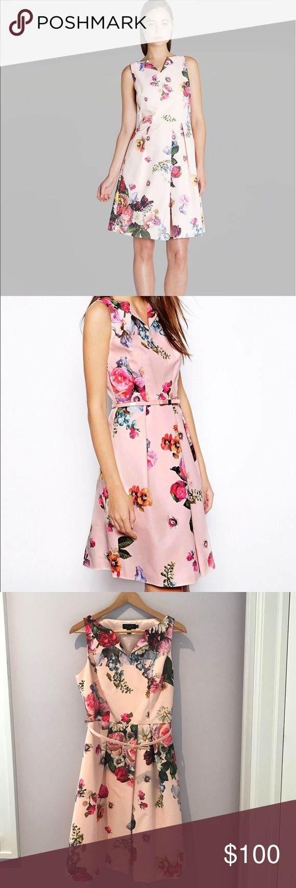 Ted Baker Devon Floral Dress This is the perfect dress for summer weddings, baby showers, or any upcoming celebrations! Pair with a jean jacket to dress down or throw on some pumps for the perfect dressy occasion outfit. Size 3 is the same as a US 8 Ted Baker London Dresses Wedding