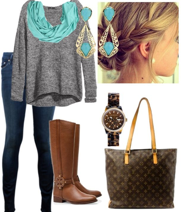 brown boots turquoise earrings scarf grey sweater