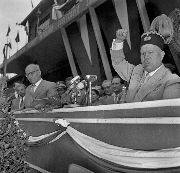 Gomulka and Krushchov in Katowice Poland 1956