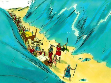 Door de Rode zee, 21 Bijbelplaten voor het digibord, kleuteridee.nl , Bijbelles voor kleuters.