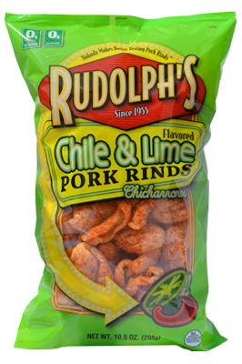 Rudolph's Chile & Lime pork rinds are our personal favorite to dip in salsa and guacamole because how perfectly it compliments the flavor! #NationalSalsaMonth