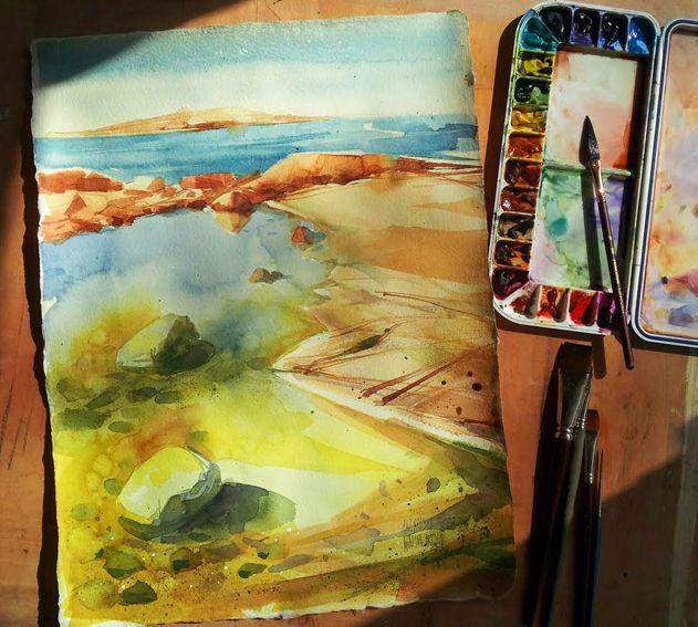 Sea shore/ Watercolour 2016/ size: 45x32 cm