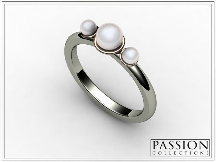 PC347PB 14K Two Tone #Gold (White and pink) 3 White #Pearls Fresh Water Pearls #Ring #Jewelry #wedding #bride #mode #fashion #customjewelry