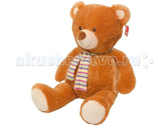 Мягкая игрушка Нижегородская игрушка Медведь в шарфе большой, озвученный 110 см  Медведь с ярким полосатым шарфом на шее и встроенным звуковым модулем непременно станет настоящим любимцем.   Веселый пушистый медвежонок с мягким толстым тельцем и подвижными лапами изготовлен из высококачественного, гипоаллергенного искусственного меха и синтетического наполнителя, которые безопасны для здоровья ребенка.   Очаровательный мишка выглядит очень забавно и непременно поднимет настроение даже в…