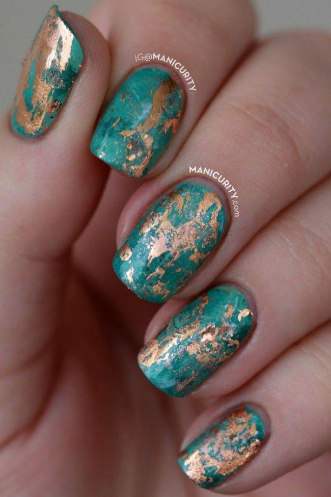 Wow - Nägel in Türkis und Gold!
