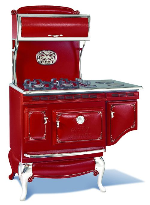 Vintage Red stove. cool.