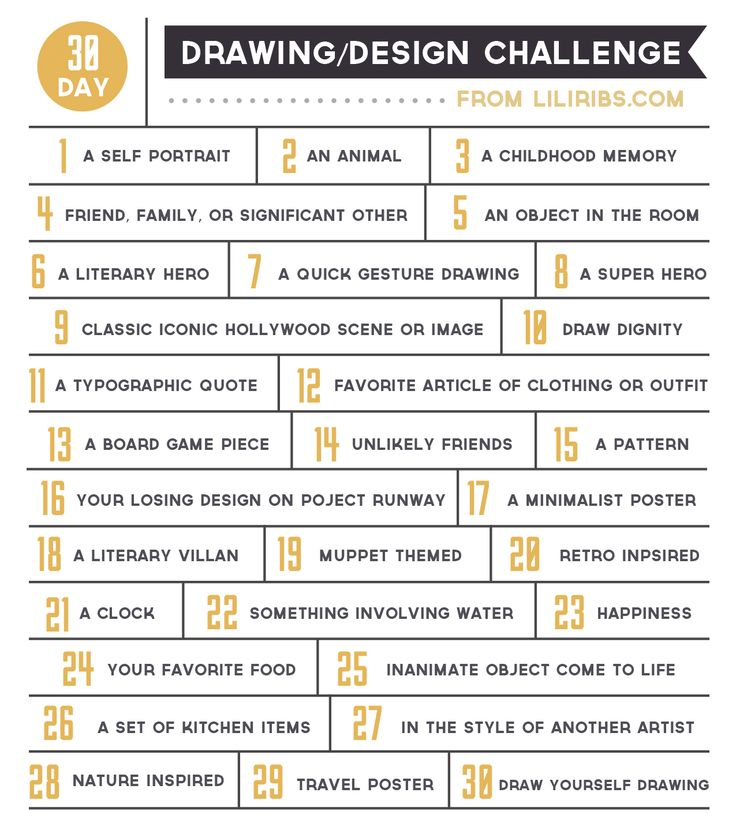 A fun 30 day drawing and design challenge to get those creative gears moving. Come join in the fun!  From liliribs.com.