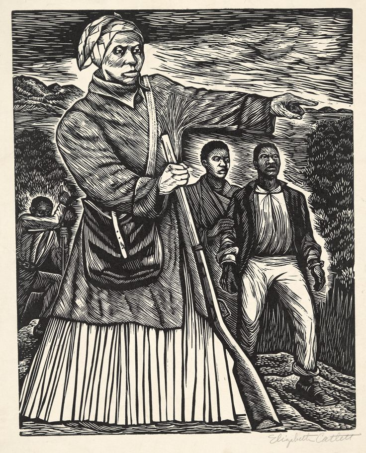"Elizabeth Catlett, ""Untitled (Harriet Tubman),"" 1953, linocut, National Gallery of Art, Washington, Reba and Dave Williams Collection, Florian Carr Fund and Gift of the Print Research Foundation"