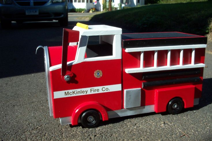 cited to share the latest addition to mExy #etsy shop: Fretruck Mailbox http://etsy.me/2ChJ2Jf #housewares #outdoor #gardendecor #birthday #fathersday #white #red #firetruck #fireman