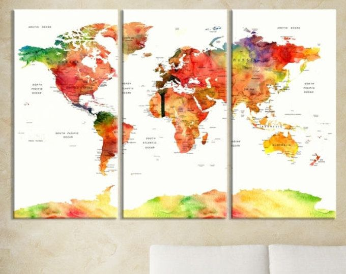 140 best push pin world map travel canvas prints images on pinterest great quality wall art canvas print and arts by largecanvasarts gumiabroncs Image collections