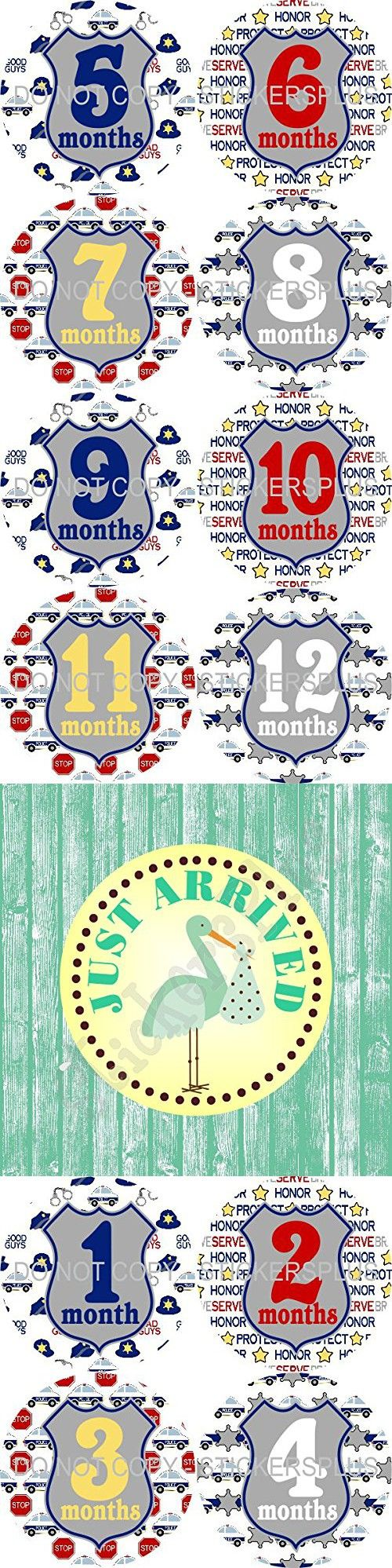 Baby Boy Month Stickers Monthly Baby Milestone Stickers Bodysuit Stickers Police Man Cop Car Badge Baby Age Stickers