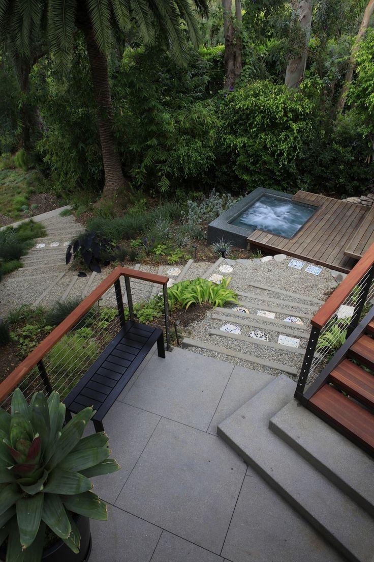 contemporary black hot tub spa, extension of decking, gravel, hillside garden, Mark Tessier Landscape Architecture