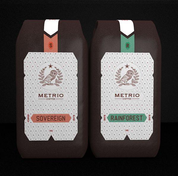 Metrio Coffee Packaging by Robinsson Cravents, via Behance