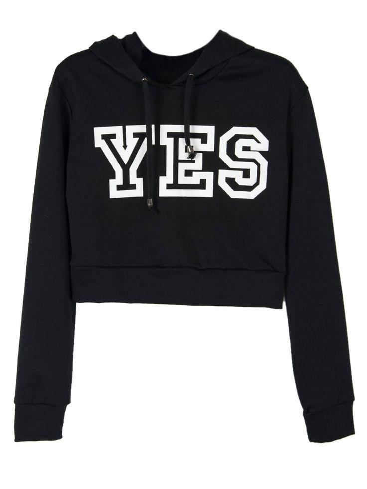 Black YES Print Crop Hoodie