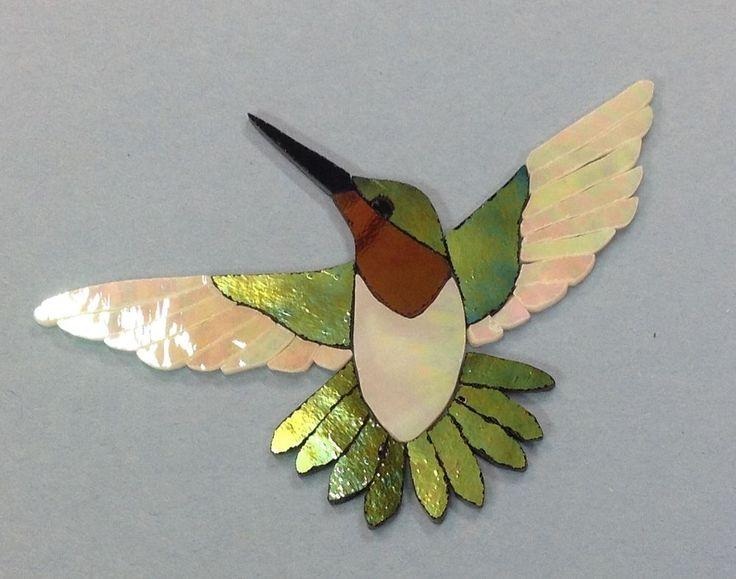 "PRECUT STAINED GLASS ART KIT MALE HUMMINGBIRD MOSAIC INLAY GARDEN STONE 5.5"" x5"""