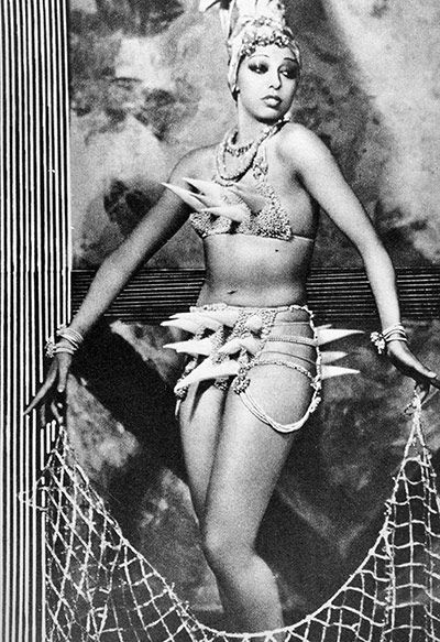 Gaga who? … Josephine Baker in a typically extravagant costume. Another outfit featured a skirt made out of jewel-encrusted bananas. The beauty industry used the erotic dancer in its adverts, highlighting the fact that jazz age symbols and figures had the power to cut across social barriers