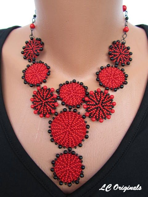 CARMEN necklace - on order only please, this is sold- beadwork red and black necklace