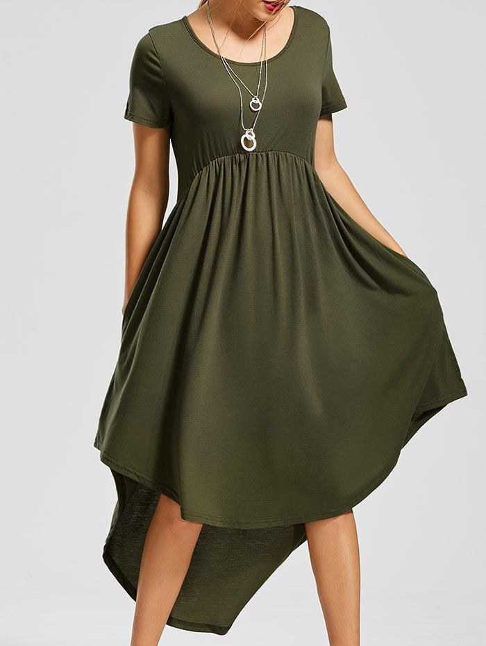 Pockets High Low Scoop Neck Dress - ARMY GREEN XL