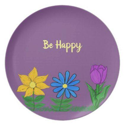 Yellow Blue Purple Floral Purple Plates - purple floral style gifts flower flowers diy customize unique
