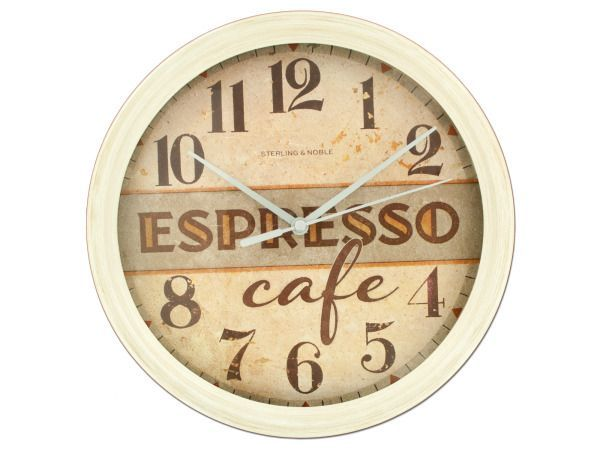 "Espresso Cafe Wall Clock, 8 - Perfect for kitchens, cafes, restaurants and more, this Espresso Cafe Wall Clock features a brown and beige clock face with a worn paint look with the words ""Espresso cafe"", silver hands and a beige frame with a painted look. Measures approximately 9.25"" in diameter and 1.625"" deep. Requires one 'AA' battery (not included) . Comes packaged in a shrink wrapped box.-Colors: brown,silver,beige. Material: glass,metal,plastic. Weight: 1.3333/unit"