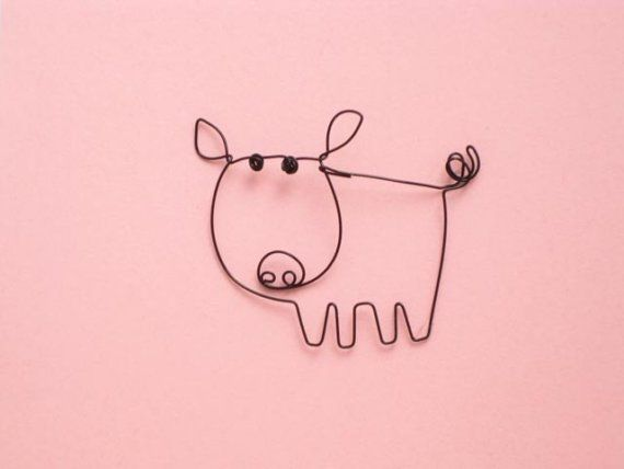 wire piggy card by foldhere on Etsy, $11.00