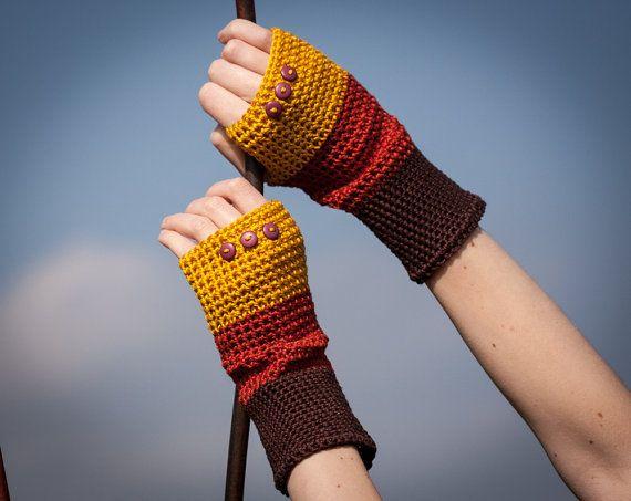 Brown Orange Yellow Fingerless Gloves / 100% Cotton Crochet