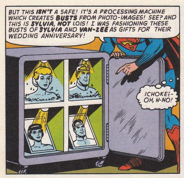"""Superman predice la impresión en 3D. - En un cómic de """"Luisa Lane, la novia de Superman"""" que se imprimió en 1964, Superman crea un dispositivo capaz de realizar impresiones en 3D."""