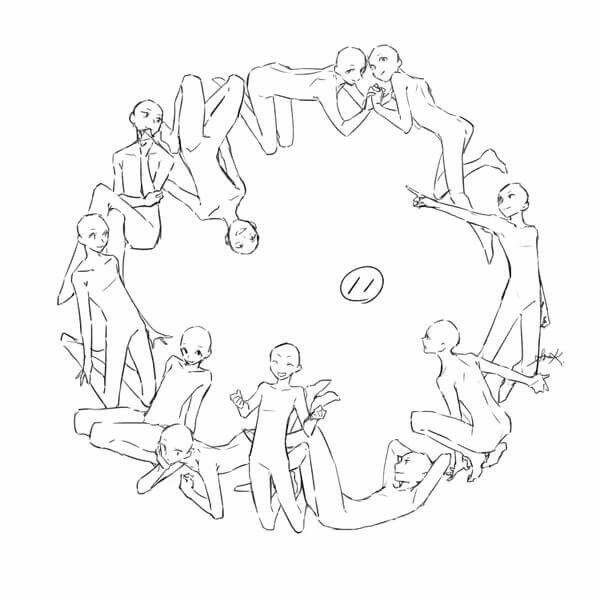 \u201c環状構図練習 番外 ポーズや構図はどうやってひねりだしてるのか、という質問に対する私なりの回答です。構図で何を暗示し何を感じとるのかは人次第なのであくまで私