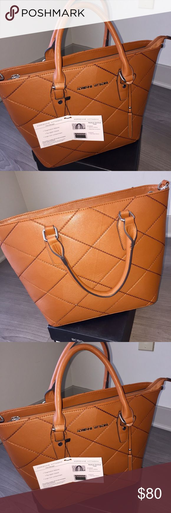 """Adrienne Vittadini Quilted Handbag Adrienne Vittadini Medium Quilted Tote.                             New with Tags!  - Top zip closure - Approx. 11"""" H x 17"""" W x 6"""" D - PU exterior Adrienne Vittadini Bags Satchels"""