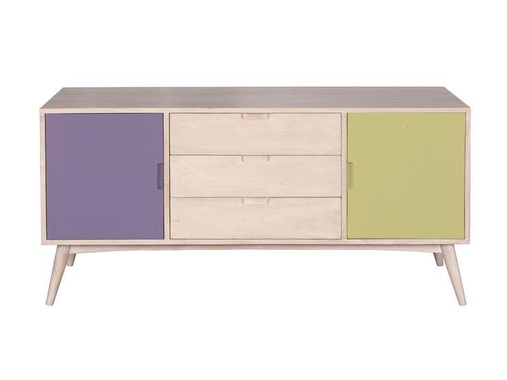 Pastel Pop Buffet - Χειροποίητο έπιπλο μπουφέ από μασίφ ξύλο μάνγκο  Διαθέτει 2 ντουλάπια με ράφια και 3 συρτάρια (με οδηγούς)