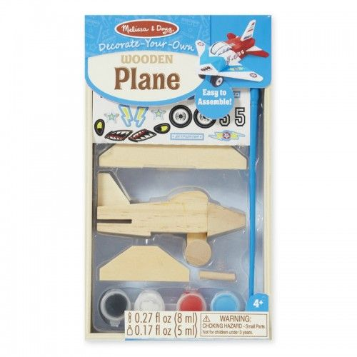 Get ready to jet off for aerial adventures with this easy-to-assemble wooden plane model.  The kit includes a wooden plane, wheels, axle, paint, paint brush, glue and aviation-themed stickers so young pilot's creativity can fly high!  Plane measures approximately 10cm long.