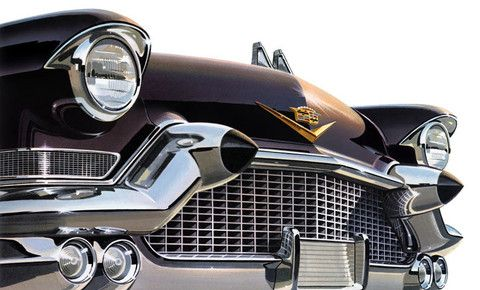 1957 Cadillac. Pointed yet voluptuous. The 1957 Cadillac comes at you with eyes wide open. The iconic circular head lamps and rubber tipped bumper guards front this classic.