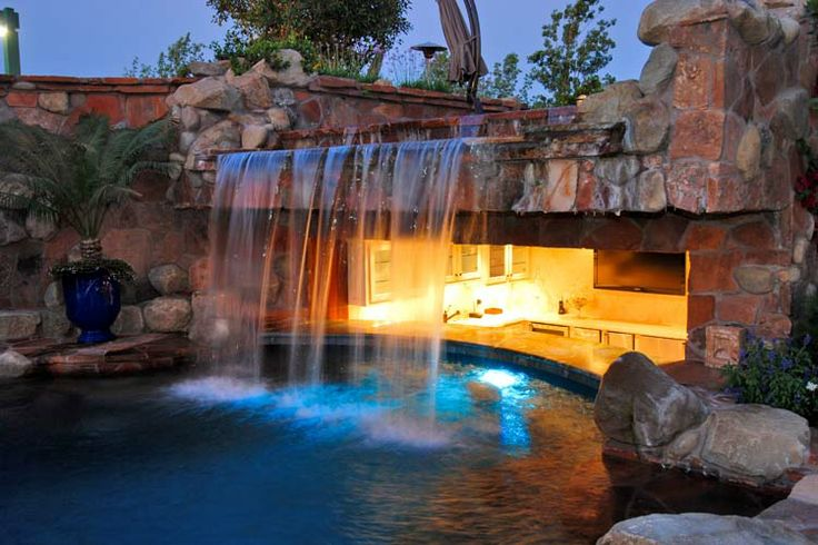 25 best summer kitchens images on pinterest barbecue for Above ground pool waterfall ideas
