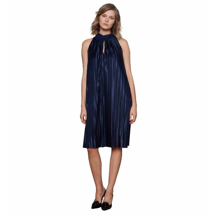 Φόρεμα Παρτοί Ώμοι Πλισσέ Μαύρο (100%PE)