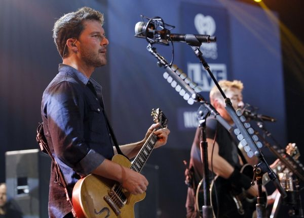Photo Flash: Nickelback Performs Hits From New Album at iHeartRadio in LA - Ryan Peake on 2nd guitar and vocals