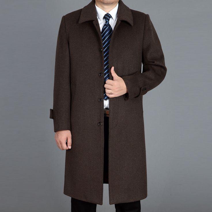 Men's Wool Coats Jackets Autumn Winter Cashmere Coat Men Thick Lapel Mid - Aged Men 's Cashmere Long Coat